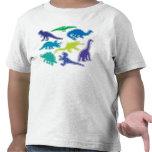 Camiseta fresca del dinosaurio - azul, púrpura y v