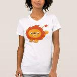 Camiseta gallarda linda de las mujeres del león de playeras
