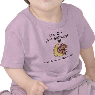 Camiseta gemela personalizada del mono de los chic