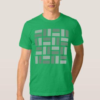 Camiseta geométrica de Basketweave en verde y gris Playera