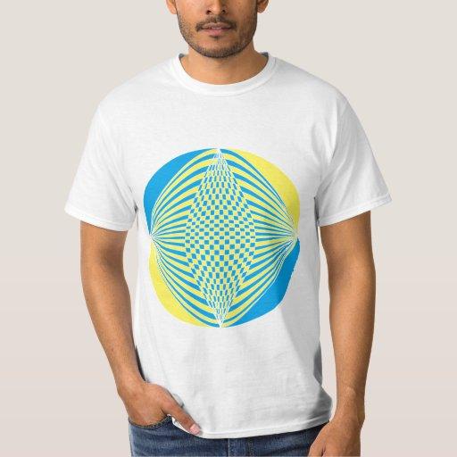 camiseta gráfica azul y blanca amarilla playeras