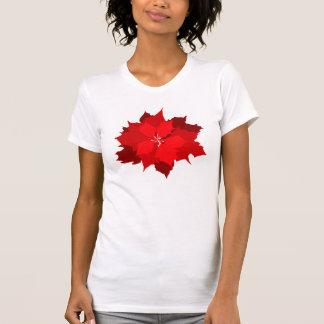Camiseta gráfica de la flor del poinsettia del camisas