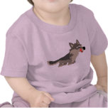 Camiseta hambrienta del bebé del lobo del dibujo