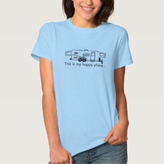 Camiseta híbrida del campista - éste es mi lugar camisas