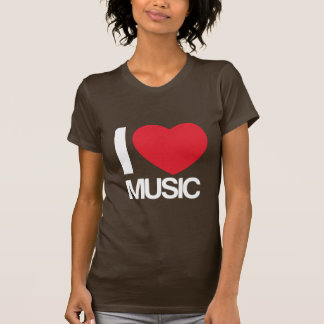 Camiseta I love music mujer marron Tshirt
