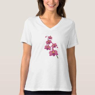 Camiseta ilustrada orquídea rosada femenina del playeras