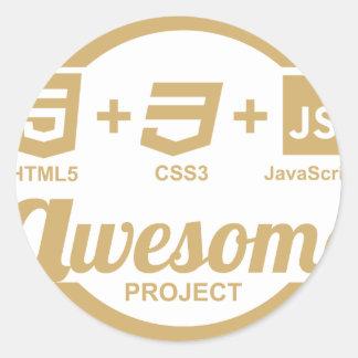 Camiseta impresionante Css3 del diseñador del Web Pegatina Redonda
