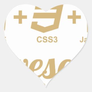 Camiseta impresionante Css3 del diseñador del Web Pegatina En Forma De Corazón
