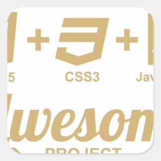 Camiseta impresionante Css3 del diseñador del Web Pegatina Cuadrada