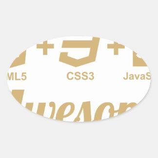 Camiseta impresionante Css3 del diseñador del Web Pegatina Ovalada
