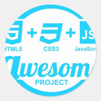 Camiseta impresionante del proyecto Css3 del Pegatina Redonda