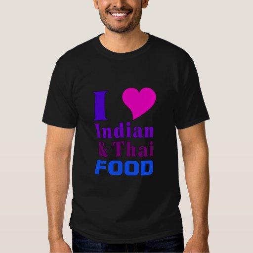 Camiseta india y tailandesa de la comida playera