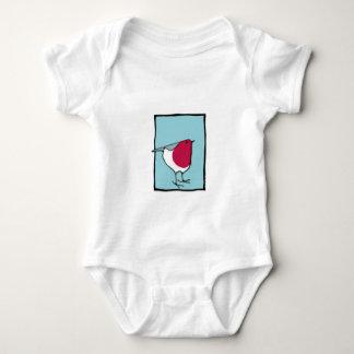Camiseta infantil azul del pequeño petirrojo playeras