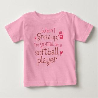 Camiseta infantil del bebé del jugador de softball playeras