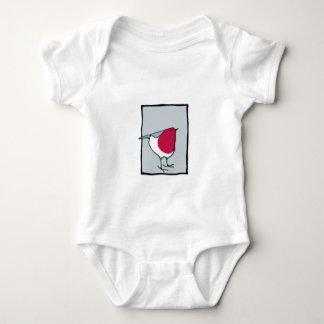 Camiseta infantil gris del pequeño petirrojo remera