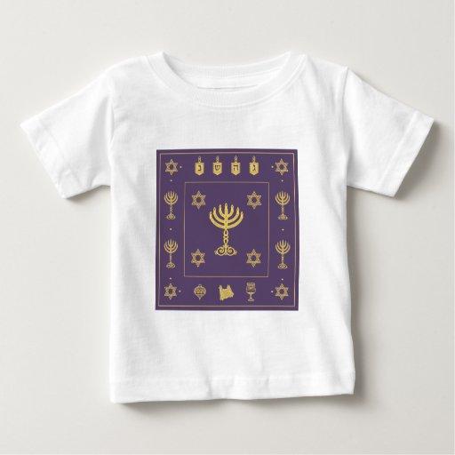 Camiseta infantil púrpura del adorno de Jánuca Playera