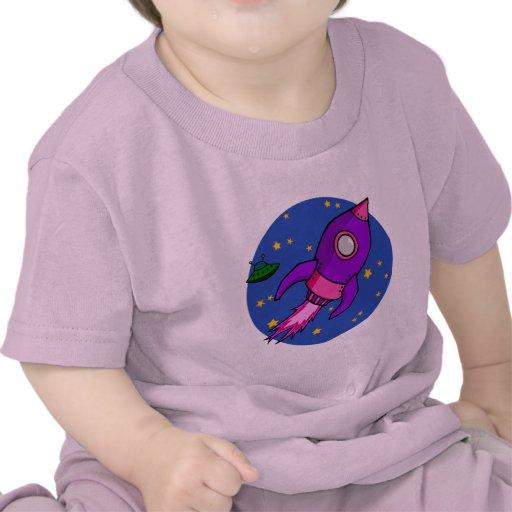 Camiseta infantil púrpura rosada de Rocket