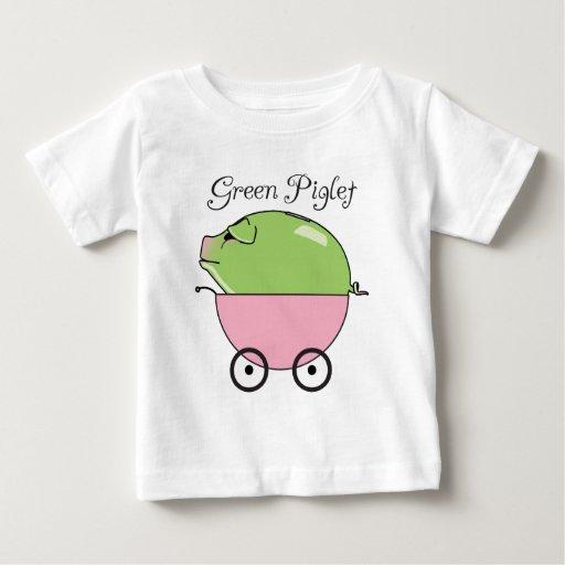 Camiseta infantil (rosada) verde del cochinillo camisas