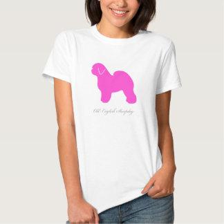 Camiseta inglesa vieja del perro pastor (silueta playera