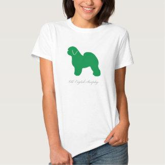 Camiseta inglesa vieja del perro pastor (silueta poleras