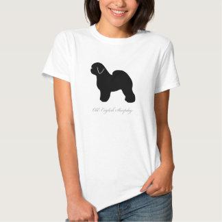 Camiseta inglesa vieja del perro pastor (silueta remeras