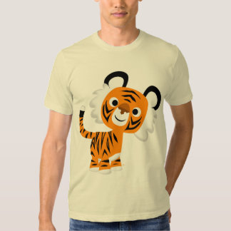Camiseta inquisitiva linda del tigre del dibujo playeras