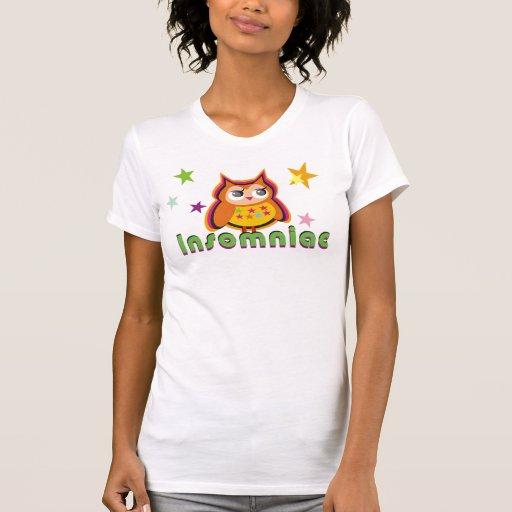 Camiseta insomne de las señoras del búho