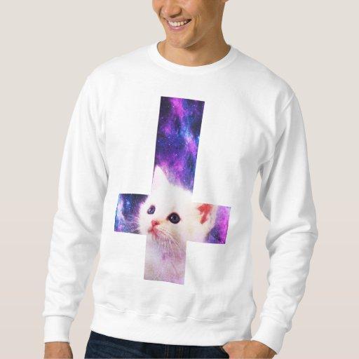 Camiseta invertida del gatito de la cruz y de la sudaderas encapuchadas