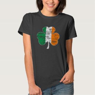 Camiseta irlandesa apenada vintage del trébol de poleras