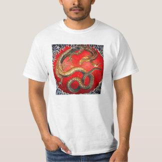 Camiseta japonesa del dragón del oro de Hokusai Polera