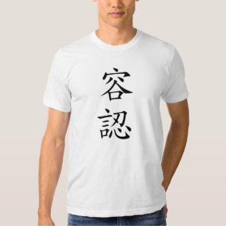 Camiseta japonesa del kanji de la aceptación remera