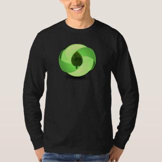 Camiseta larga amistosa del negro de la manga de remera