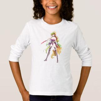 Camiseta larga blanca de la manga de la mujer del