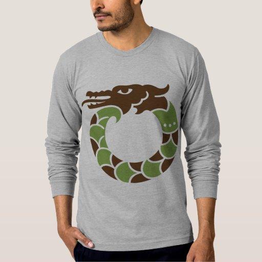 Camiseta larga cabida dragón de la manga del jade camisas