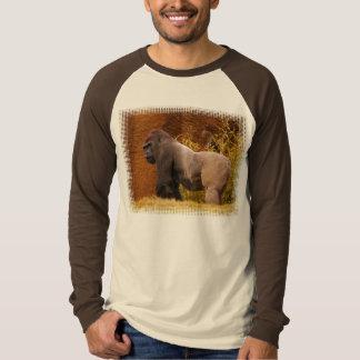 Camiseta larga de la manga de la foto del gorila playeras