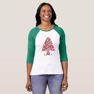 Camiseta larga de la manga de las felices mujeres remeras