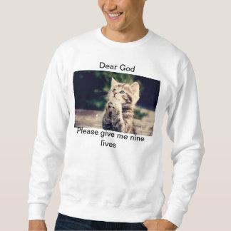 Camiseta larga de la manga de nueve vidas pullover sudadera