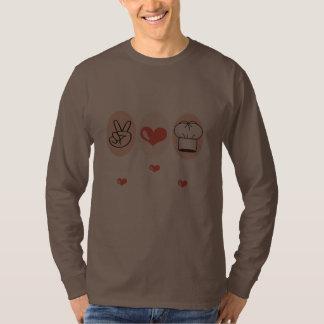 Camiseta larga de la manga del cocinero del amor playeras