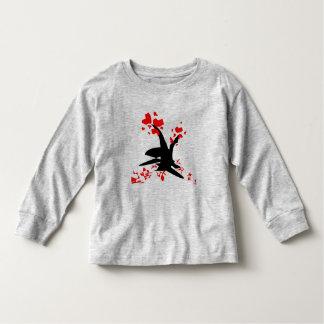Camiseta larga de la manga del niño del corazón