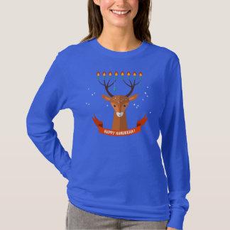 Camiseta larga de la manga del reno de Jánuca de