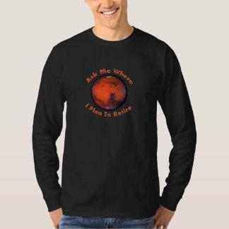 Camiseta larga de la manga del retiro de Marte