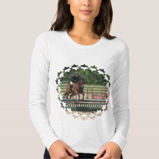 Camiseta larga de salto de la manga de las señoras playera