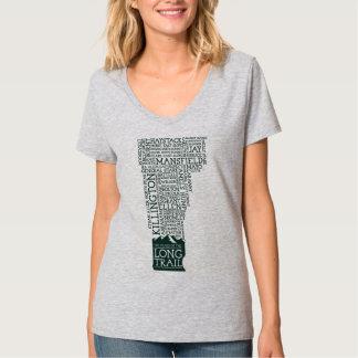Camiseta larga del cuello en v del rastro de remeras