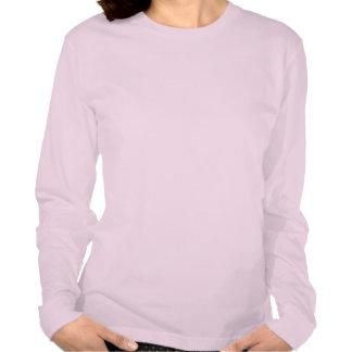 Camiseta larga del rosa de la manga de las señoras