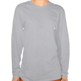 Camiseta larga gris de la manga de las mujeres