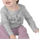Camiseta larga infantil de la manga del gatito