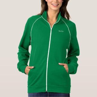 Camiseta larga verde de la manga para Marilyn Sudaderas Con Cremallera