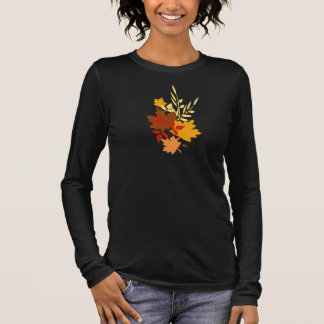 Camiseta Largo-envuelta jersey de las hojas de