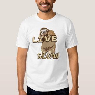 Camiseta lenta viva de la pereza divertida playera
