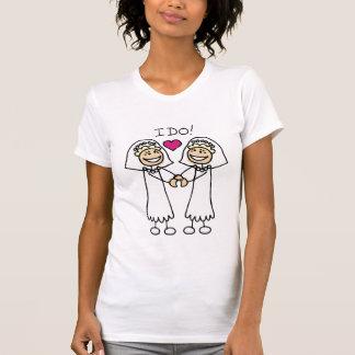 Camiseta lesbiana de la boda de las novias playera